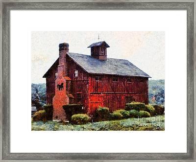 Black Horse Chimney Barn Framed Print by Janine Riley