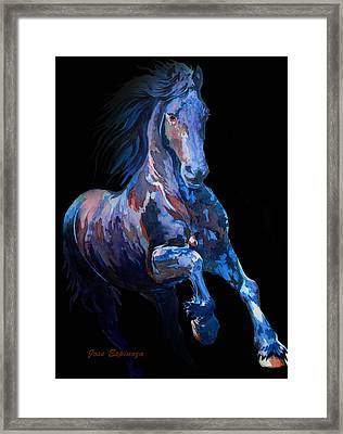 Black Horse In Black Framed Print