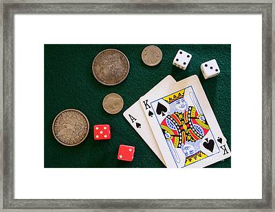 Black Jack And Silver Dollars Framed Print by Paul Ward