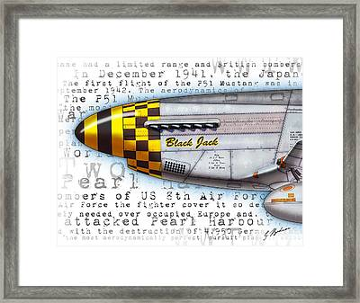 Black Jack P-51 Mustang Nose Art Framed Print by Gary Bodnar
