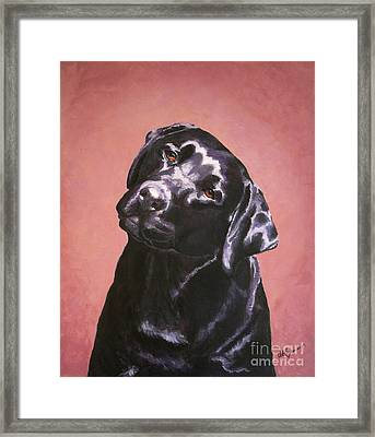 Black Labrador Portrait Painting Framed Print
