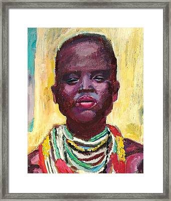 Black Lady With Necklaces Framed Print by Janet Ashworth