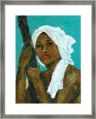 Black Lady With White Head-dress Framed Print by Janet Ashworth