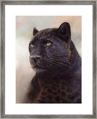 Black Leopard Painting Framed Print