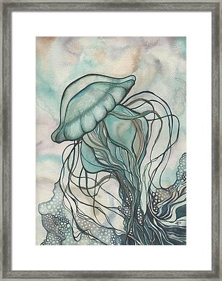 Black Lung Green Jellyfish Framed Print
