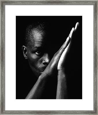 Black Man With Praying Hands Framed Print