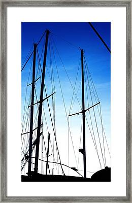 Black N Blue Hour Of Sailing Ships Framed Print by Rosemarie E Seppala