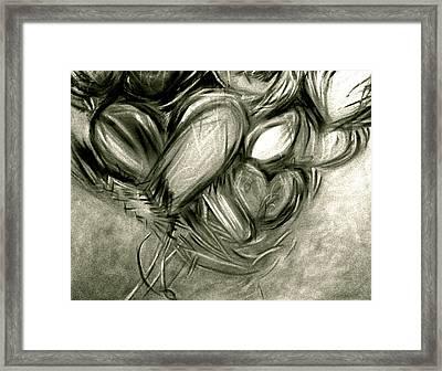 Black N' White-hearts Soar-thinking Of You Framed Print by Juliann Sweet