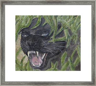 Framed Print featuring the painting Black Panther Fury by Kelly Mills
