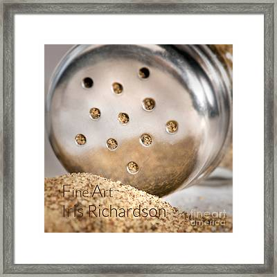 Black Pepper Shaker With Pour Framed Print by Iris Richardson