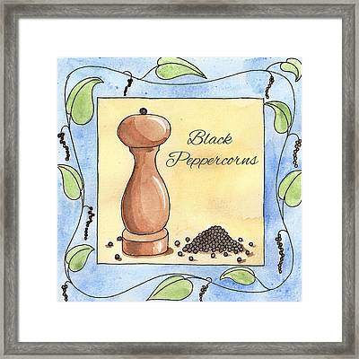 Black Peppercorns Kitchen Art Framed Print by Christy Beckwith
