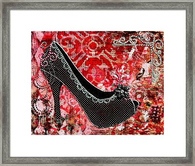 Black Polka Dot Shoes With Red Abstract Background Framed Print