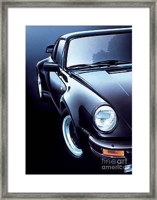 Black Porsche Turbo Framed Print by Gavin Macloud