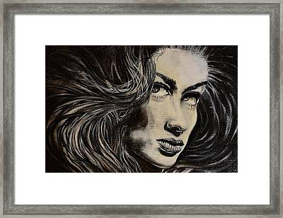 Framed Print featuring the painting Black Portrait 13 by Sandro Ramani