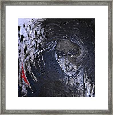 Framed Print featuring the painting black portrait 16 Juliette by Sandro Ramani