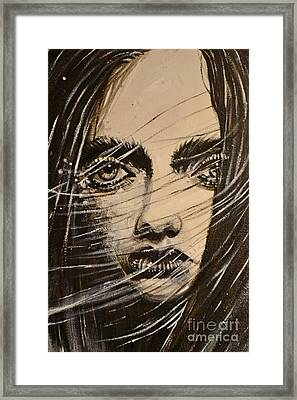 Framed Print featuring the painting Black Portrait 18 by Sandro Ramani