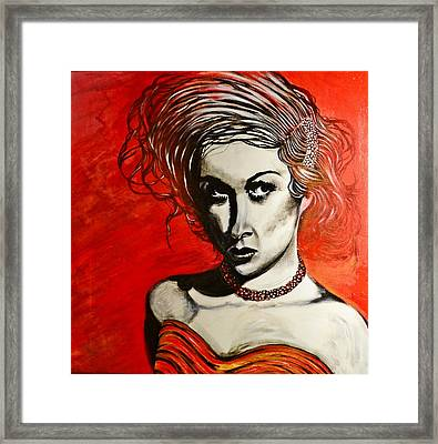 Framed Print featuring the painting Black Portrait 20 by Sandro Ramani