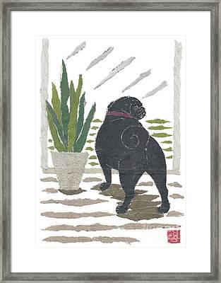 Black Pug Art Hand-torn Newspaper Collage Art Framed Print by Keiko Suzuki Bless Hue