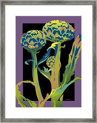 Black-purple Artichoke Framed Print