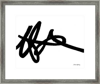 Black Ray -minimal Black And White Abstract By Laura Gomez - Horizontal Format Framed Print
