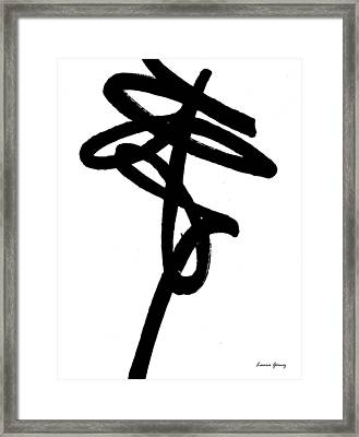 Black Ray -minimal Black And White Abstract By Laura Gomez - Vertical Format Framed Print