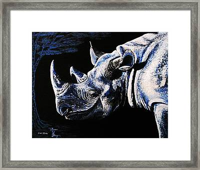 Black Rino Framed Print by Viktor Lazarev