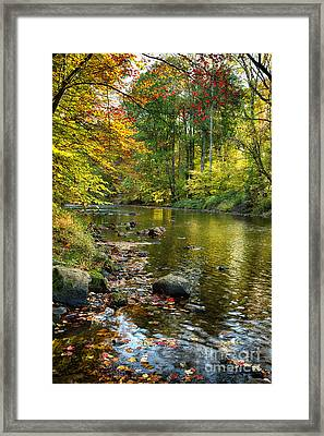 Black River Fall Scenic In New Jersey Framed Print by George Oze