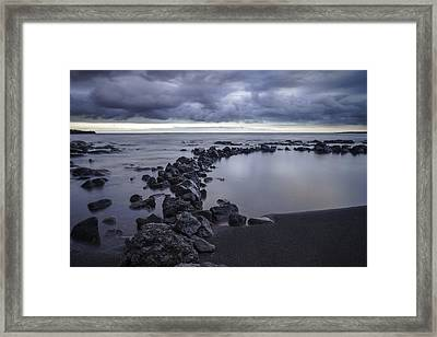 Framed Print featuring the pastel Big Island - Black Sand Beach by Francesco Emanuele Carucci