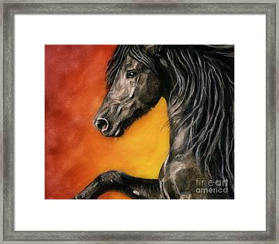 Framed Print featuring the painting Black Satin by Sheri Gordon
