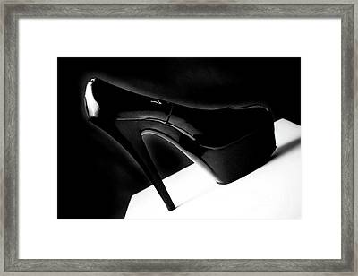 Black Sexy Stiletto Heels 1 Framed Print by Linda Matlow