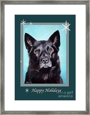 Black Shepard Mix Portrait Holiday Framed Print
