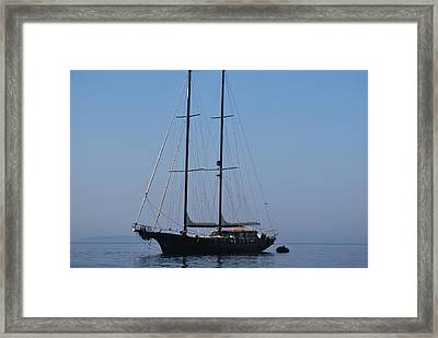 Black Ship Framed Print by George Katechis