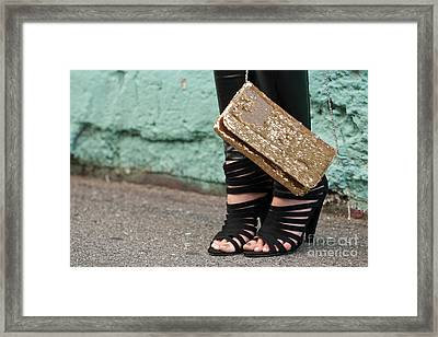 Black Shoes Gold Sequins Framed Print by Rick Piper Photography
