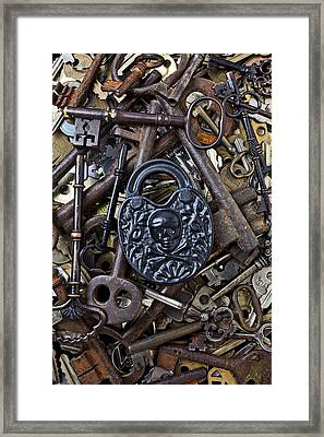 Black Skull And Bones Lock Framed Print by Garry Gay