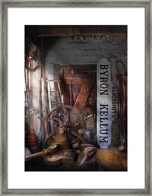 Black Smith - Byron Kellum Blacksmith Framed Print by Mike Savad