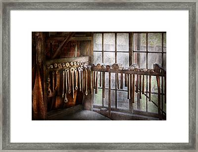 Black Smith - Draw Plates And Hammers  Framed Print by Mike Savad