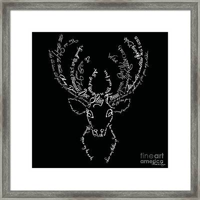 Black Stag Framed Print by Marion De Lauzun