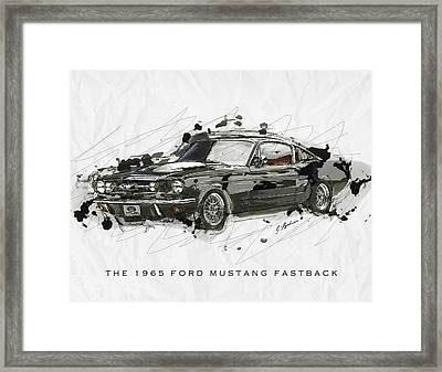 Black Stallion 1965 Ford Mustang Fastback #2 Framed Print by Gary Bodnar