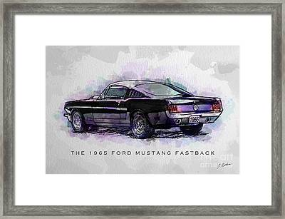 Black Stallion 1965 Ford Mustang Fastback Framed Print by Gary Bodnar