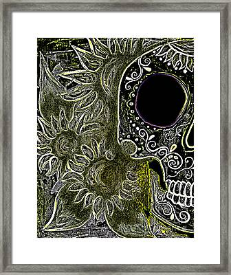 Black Sunflower Skull Framed Print by Lovejoy Creations