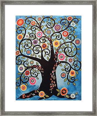 Black Swirl Tree Framed Print