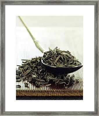 Black Tea Leaves Framed Print by Romulo Yanes