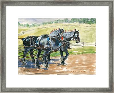 Black Team Framed Print by Mary Armstrong