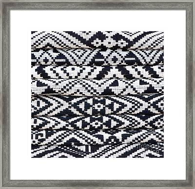 Black Thai Fabric 02 Framed Print