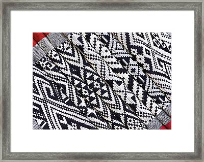 Black Thai Fabric 03 Framed Print