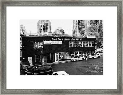 black top and checker cabs office Vancouver BC Canada Framed Print by Joe Fox