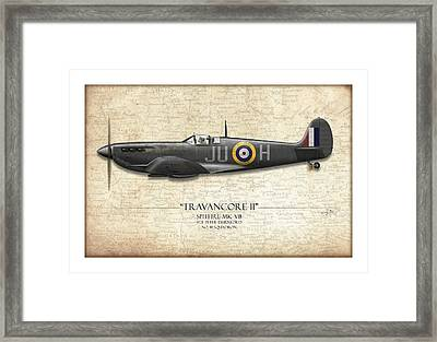 Black Travancore II Spitfire - Map Background Framed Print by Craig Tinder