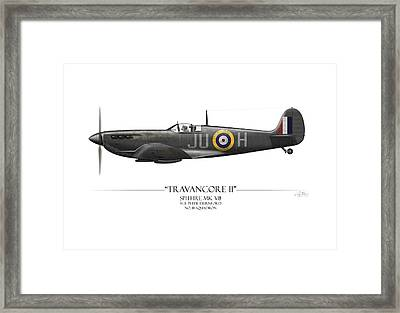 Black Travancore II Spitfire - White Background Framed Print by Craig Tinder