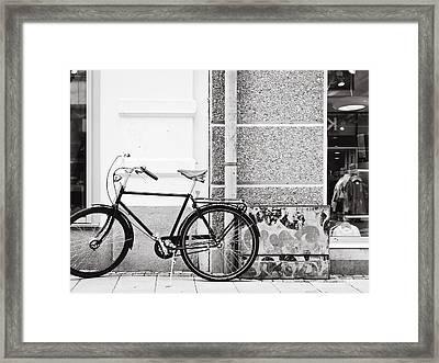 Black Vintage Bicycle Framed Print by Jimmy Karlsson