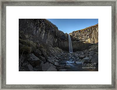 Black Waterfall Framed Print by Gunnar Orn Arnason